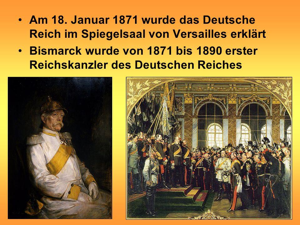 Am 18. Januar 1871 wurde das Deutsche Reich im Spiegelsaal von Versailles erklärt