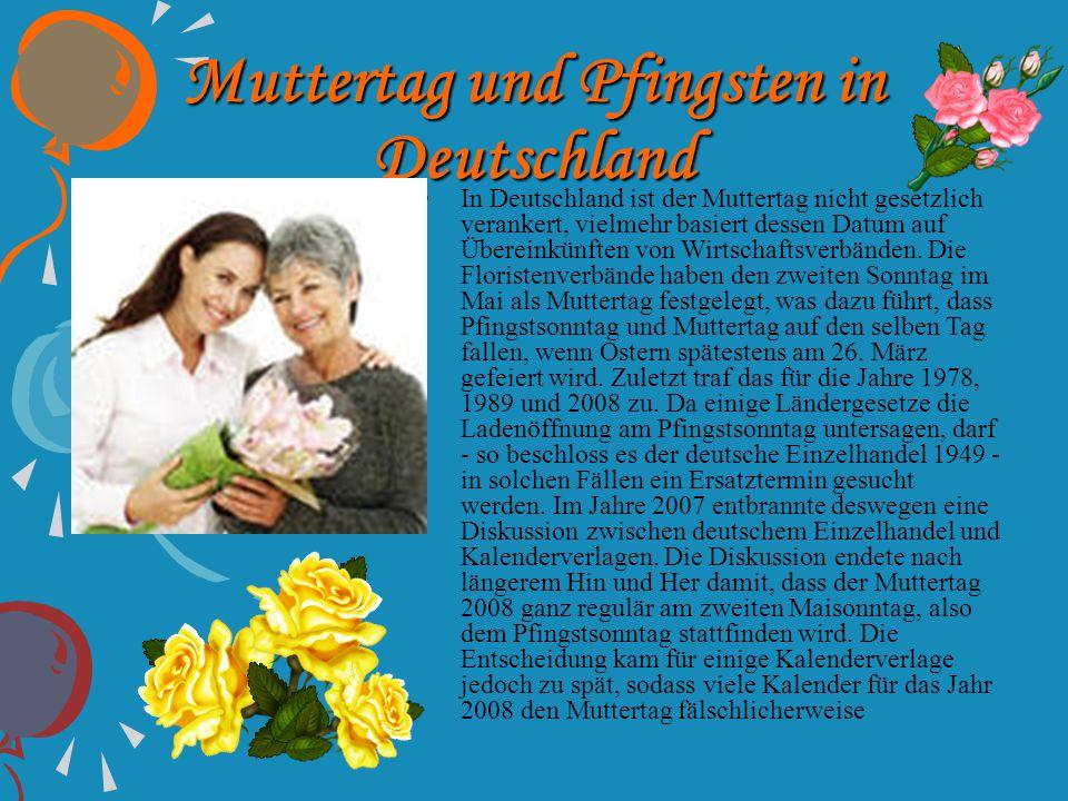 Muttertag und Pfingsten in Deutschland