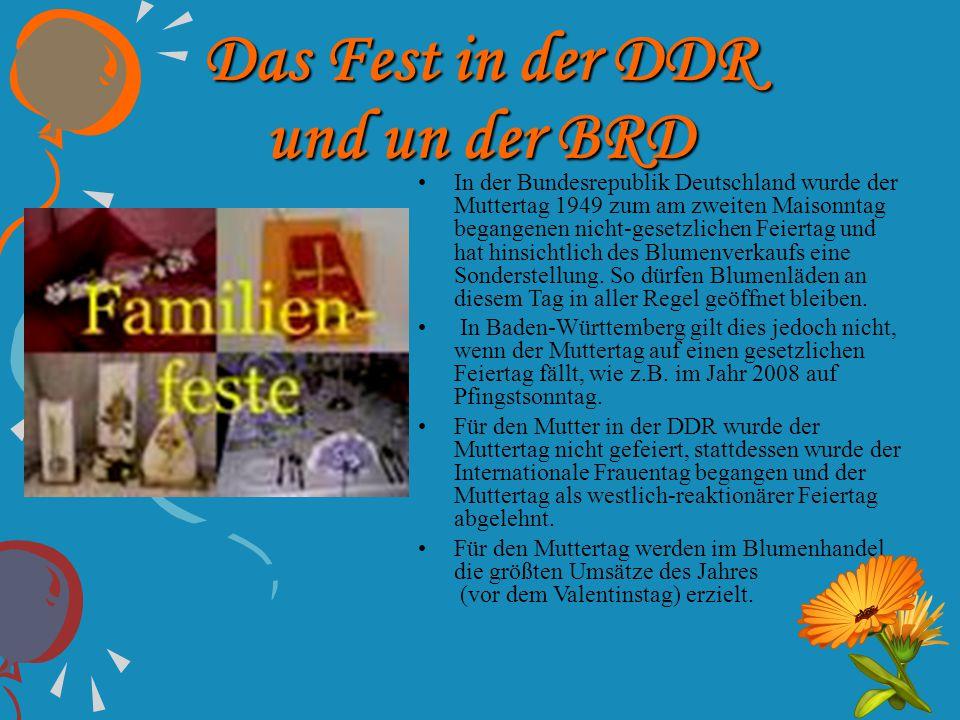 Das Fest in der DDR und un der BRD