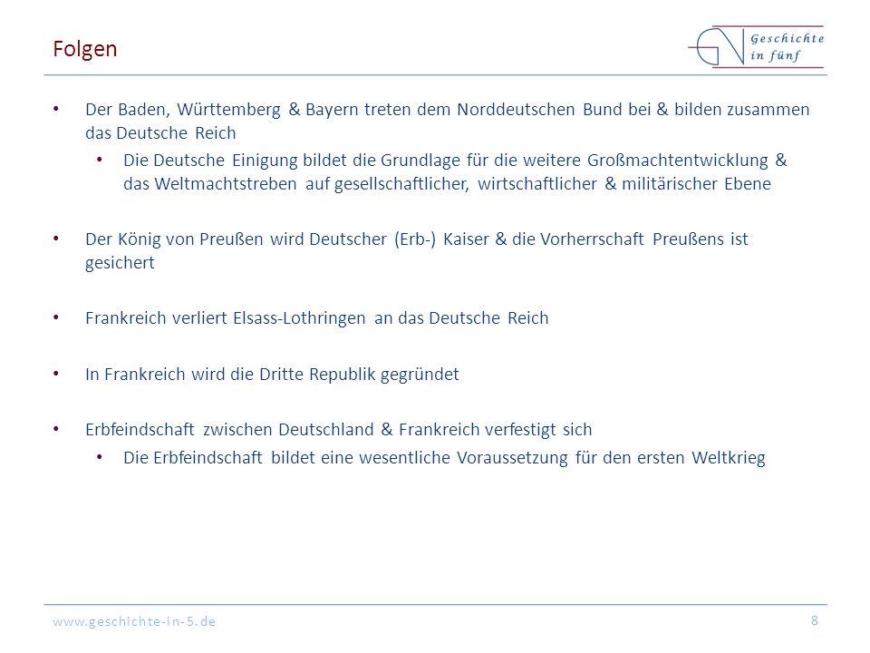 Folgen Der Baden, Württemberg & Bayern treten dem Norddeutschen Bund bei & bilden zusammen das Deutsche Reich.