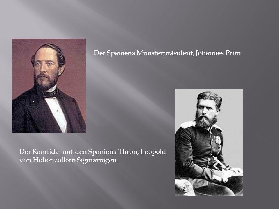 Der Spaniens Ministerpräsident, Johannes Prim