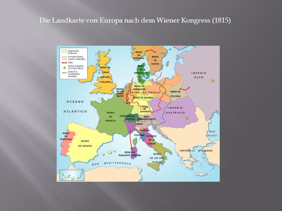 Die Landkarte von Europa nach dem Wiener Kongress (1815)