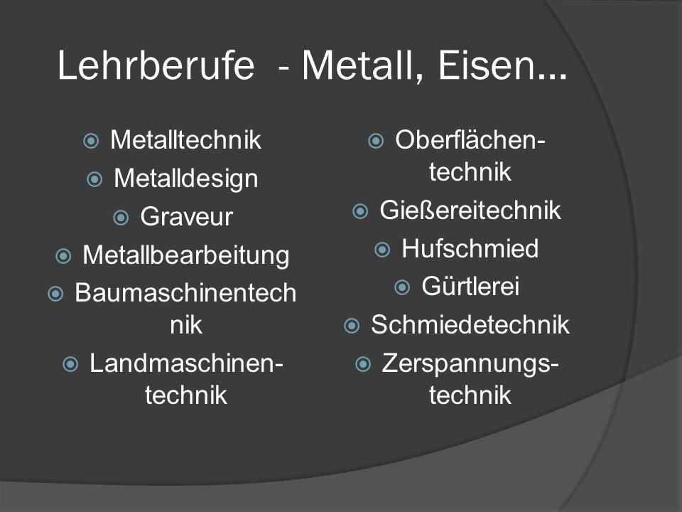 Lehrberufe - Metall, Eisen…