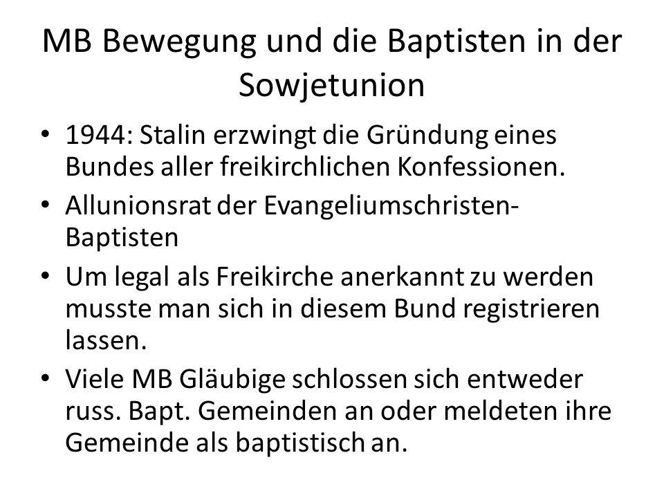 MB Bewegung und die Baptisten in der Sowjetunion