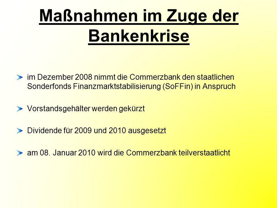 Maßnahmen im Zuge der Bankenkrise