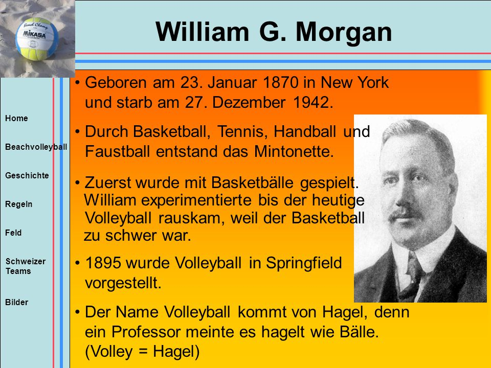 William G. Morgan Geboren am 23. Januar 1870 in New York und starb am 27. Dezember 1942.