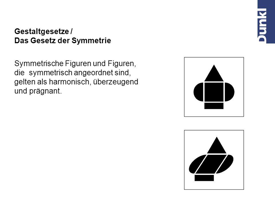 Gestaltgesetze / Das Gesetz der Symmetrie. Symmetrische Figuren und Figuren, die symmetrisch angeordnet sind,