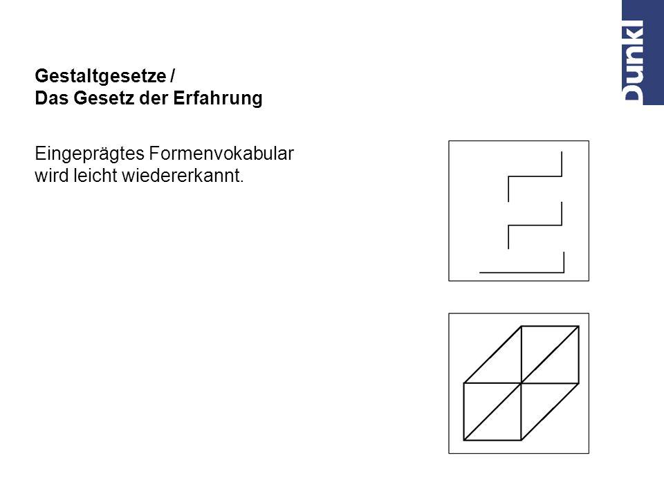 Gestaltgesetze / Das Gesetz der Erfahrung Eingeprägtes Formenvokabular wird leicht wiedererkannt.
