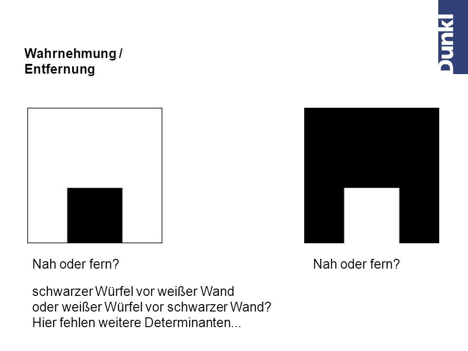 Wahrnehmung / Entfernung. Nah oder fern Nah oder fern schwarzer Würfel vor weißer Wand. oder weißer Würfel vor schwarzer Wand