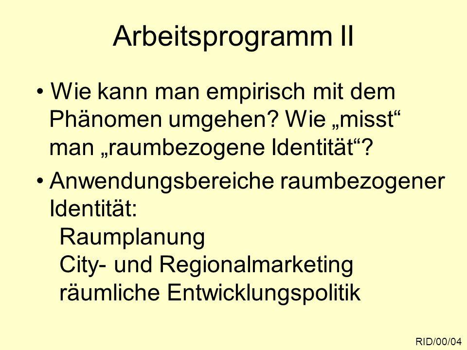 Arbeitsprogramm II Wie kann man empirisch mit dem