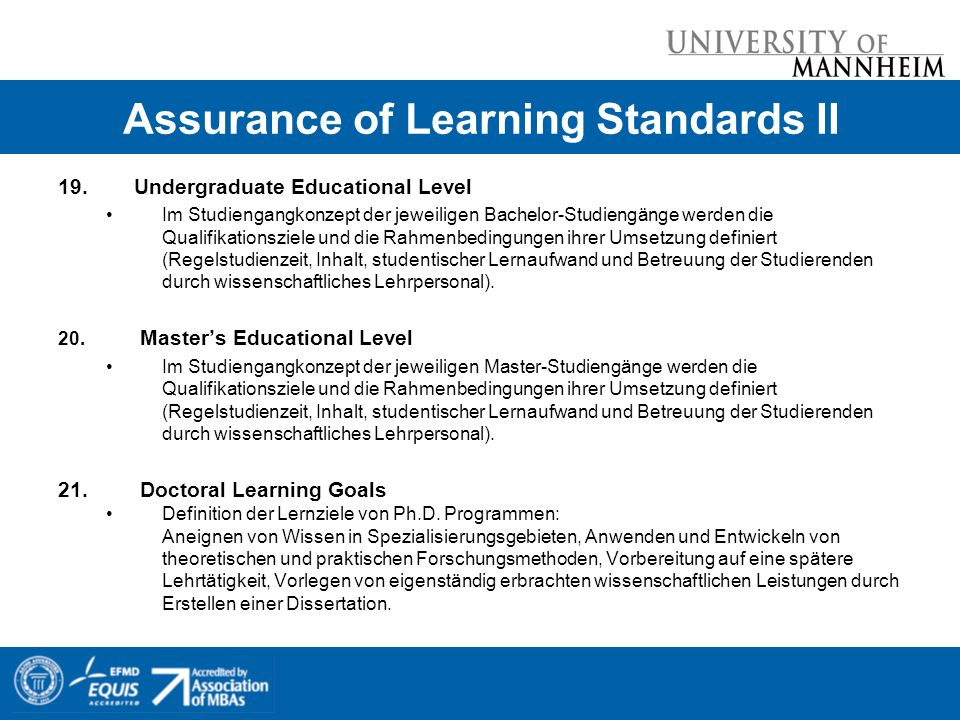 Assurance of Learning Standards II