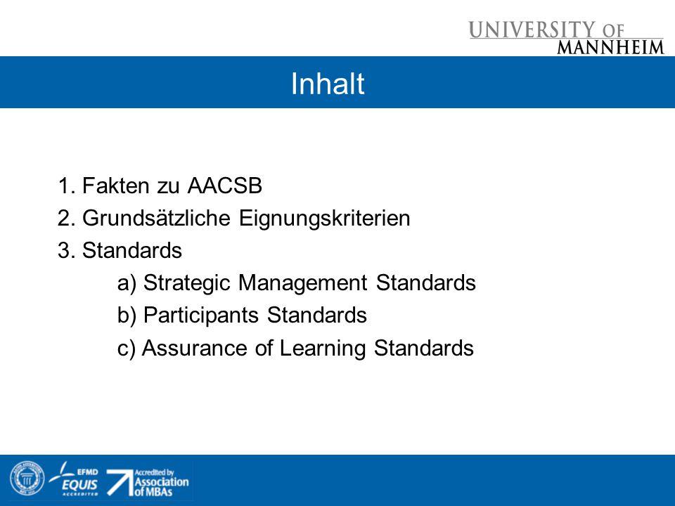 Inhalt 1. Fakten zu AACSB 2. Grundsätzliche Eignungskriterien