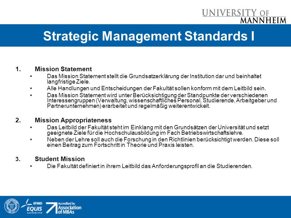 Strategic Management Standards I