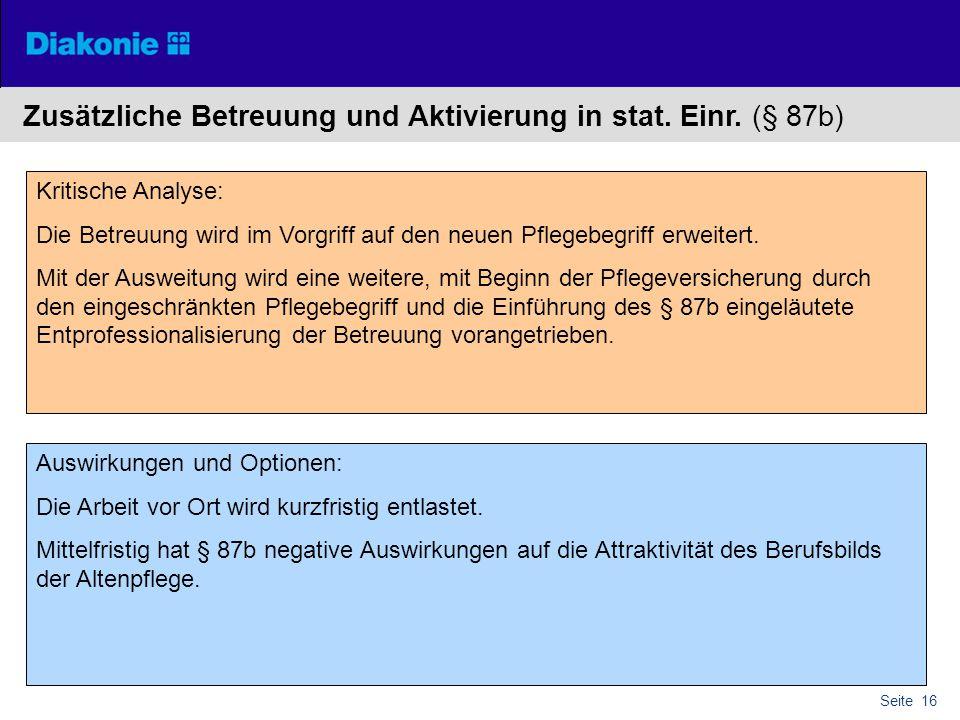 Zusätzliche Betreuung und Aktivierung in stat. Einr. (§ 87b)