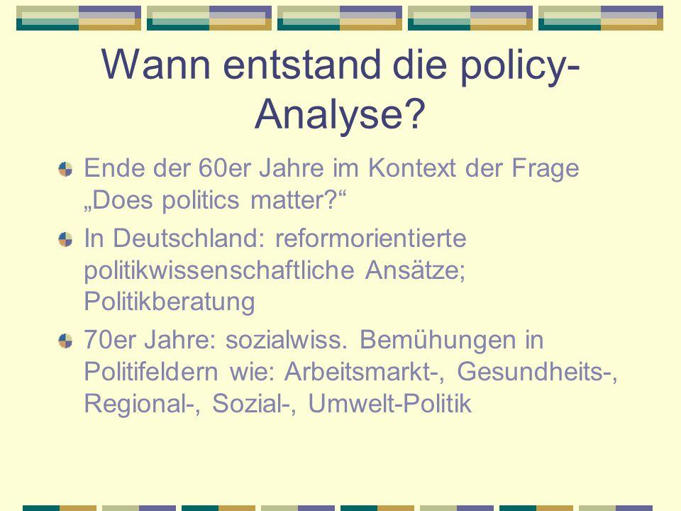 Wann entstand die policy-Analyse