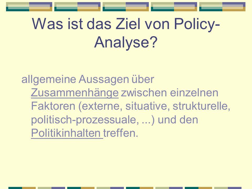 Was ist das Ziel von Policy-Analyse
