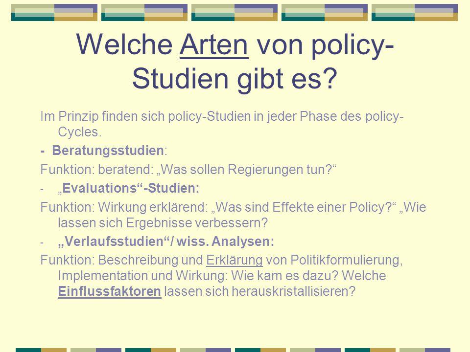 Welche Arten von policy-Studien gibt es