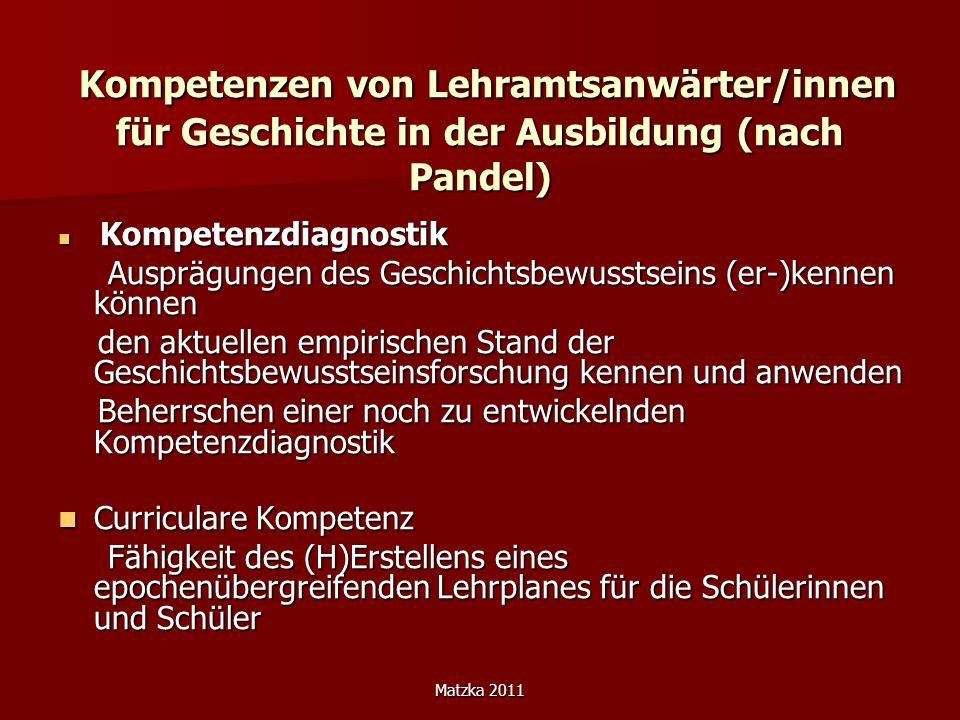 Kompetenzen von Lehramtsanwärter/innen für Geschichte in der Ausbildung (nach Pandel)