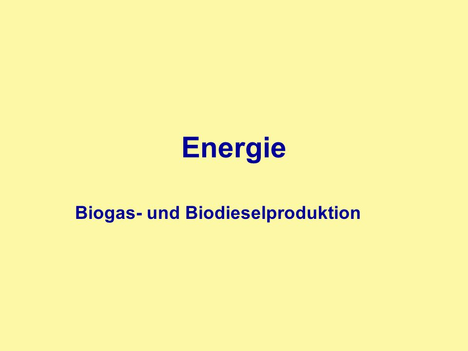 Biogas- und Biodieselproduktion