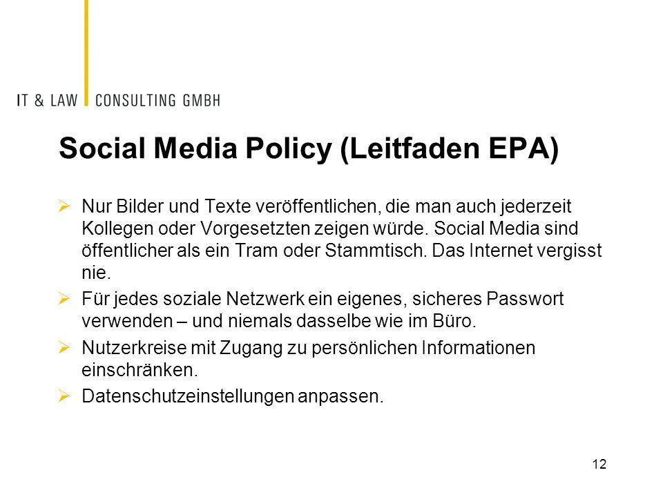 Social Media Policy (Leitfaden EPA)