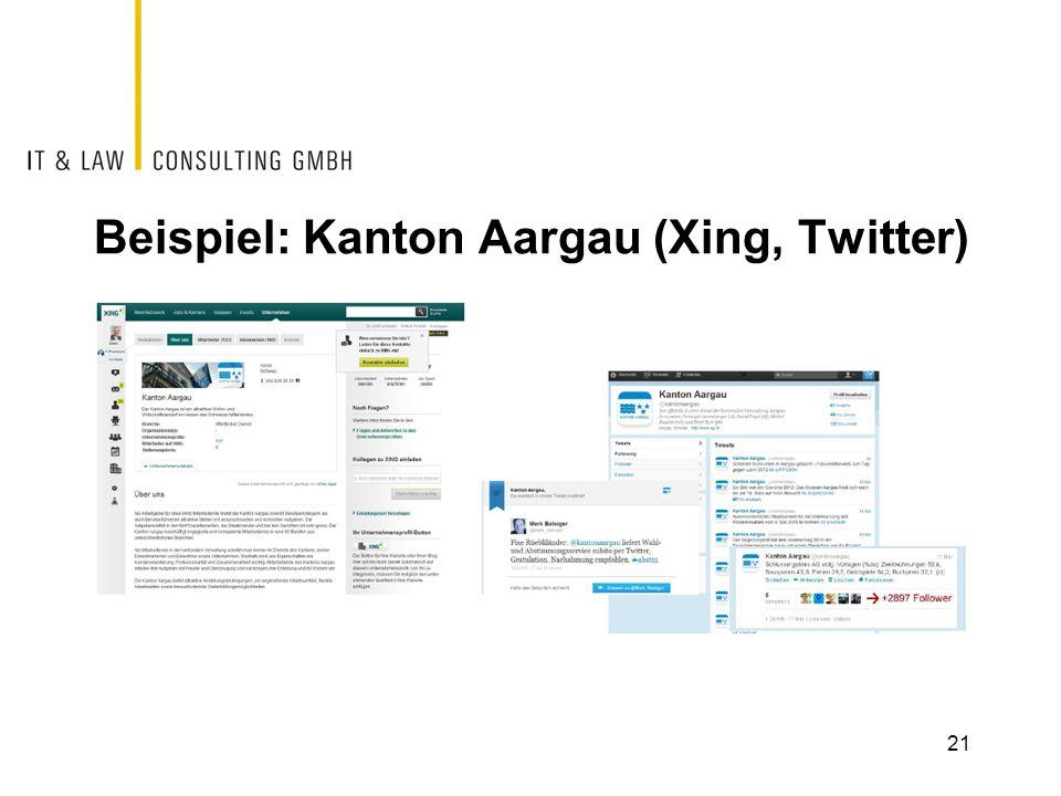 Beispiel: Kanton Aargau (Xing, Twitter)