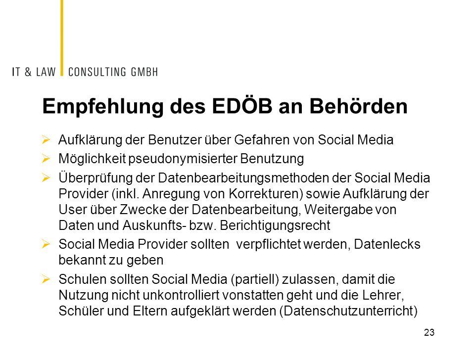Empfehlung des EDÖB an Behörden