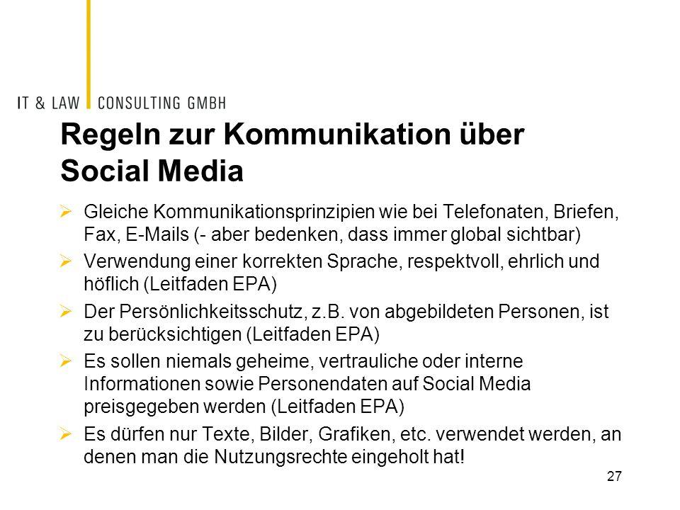Regeln zur Kommunikation über Social Media