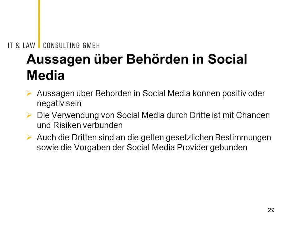 Aussagen über Behörden in Social Media