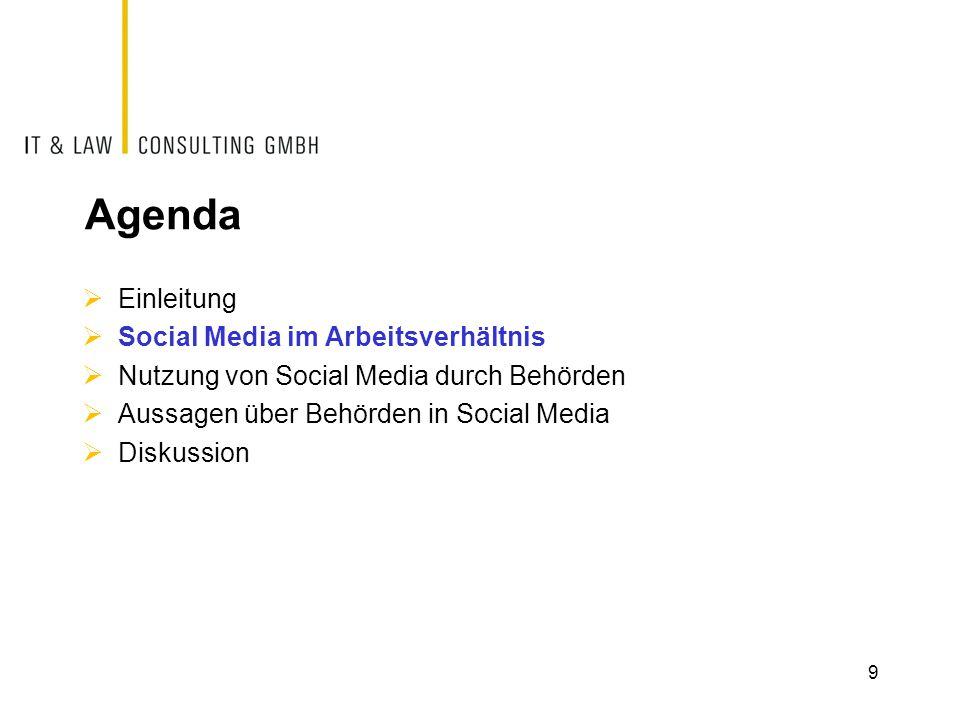 Agenda Einleitung Social Media im Arbeitsverhältnis