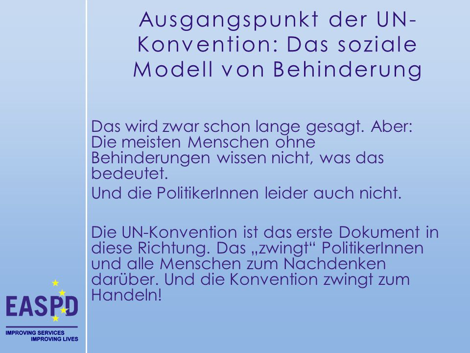 Ausgangspunkt der UN-Konvention: Das soziale Modell von Behinderung