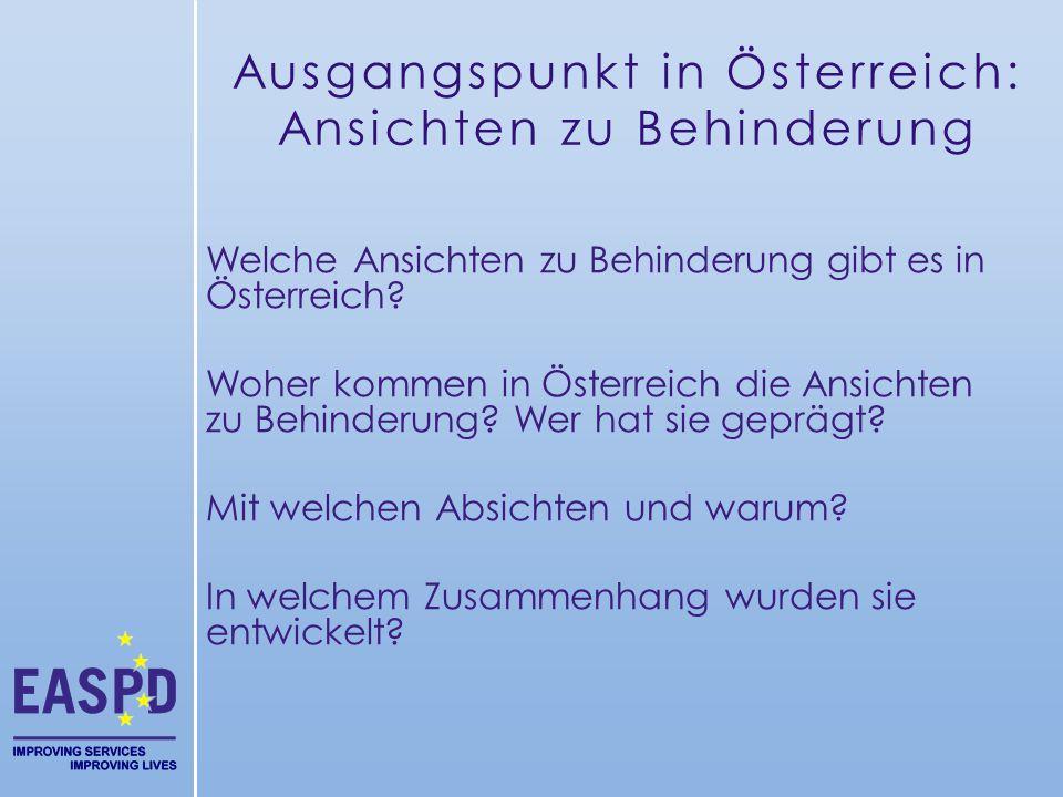Ausgangspunkt in Österreich: Ansichten zu Behinderung