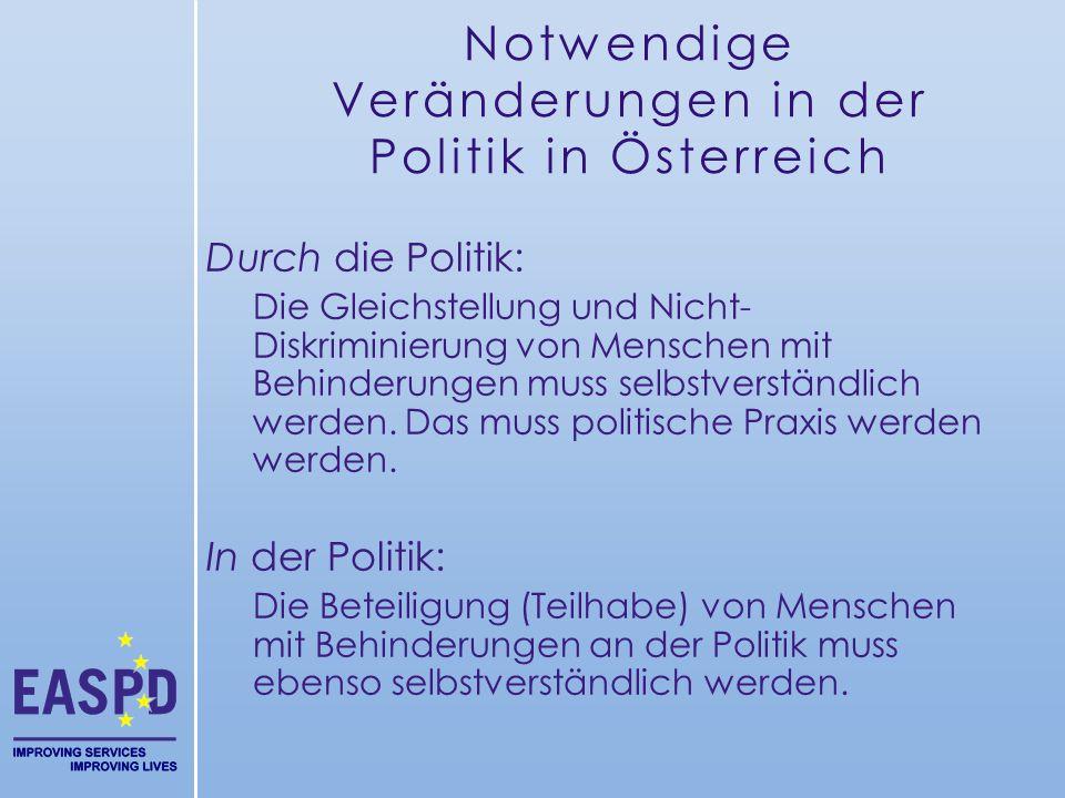 Notwendige Veränderungen in der Politik in Österreich