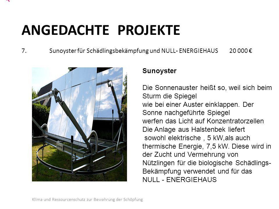 ANGEDACHTE PROJEKTE 7. Sunoyster für Schädlingsbekämpfung und NULL- ENERGIEHAUS 20 000 €