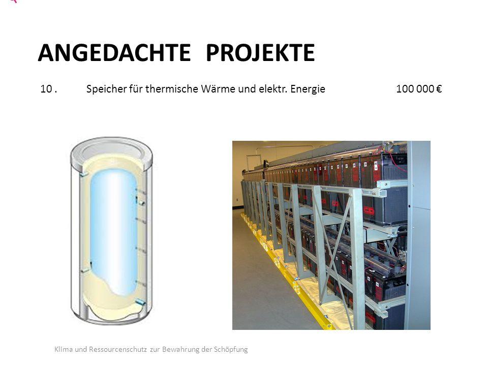 ANGEDACHTE PROJEKTE 10. Speicher für thermische Wärme und elektr