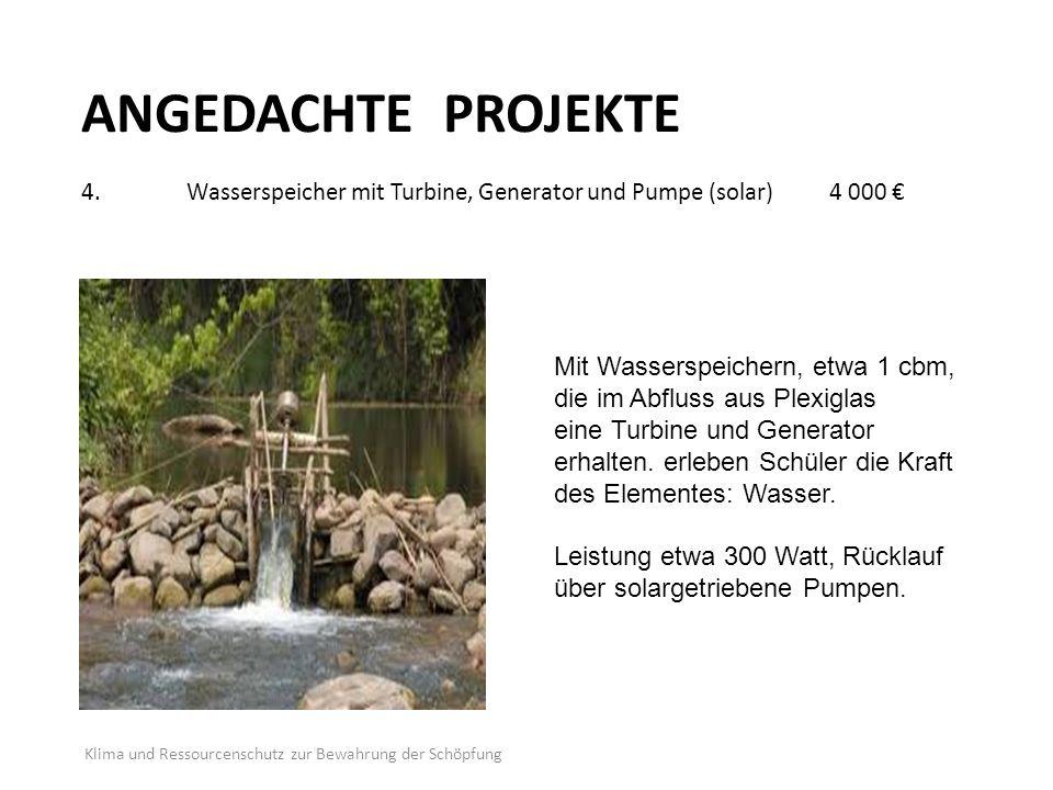 ANGEDACHTE PROJEKTE 4. Wasserspeicher mit Turbine, Generator und Pumpe (solar) 4 000 €
