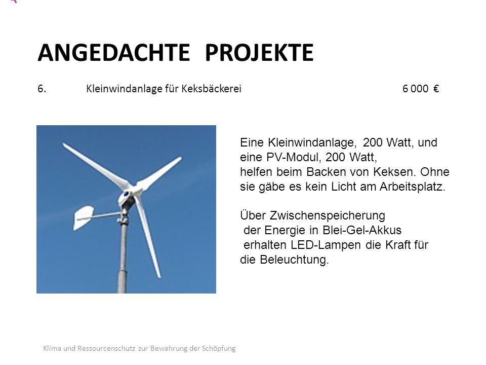 ANGEDACHTE PROJEKTE 6. Kleinwindanlage für Keksbäckerei 6 000 €