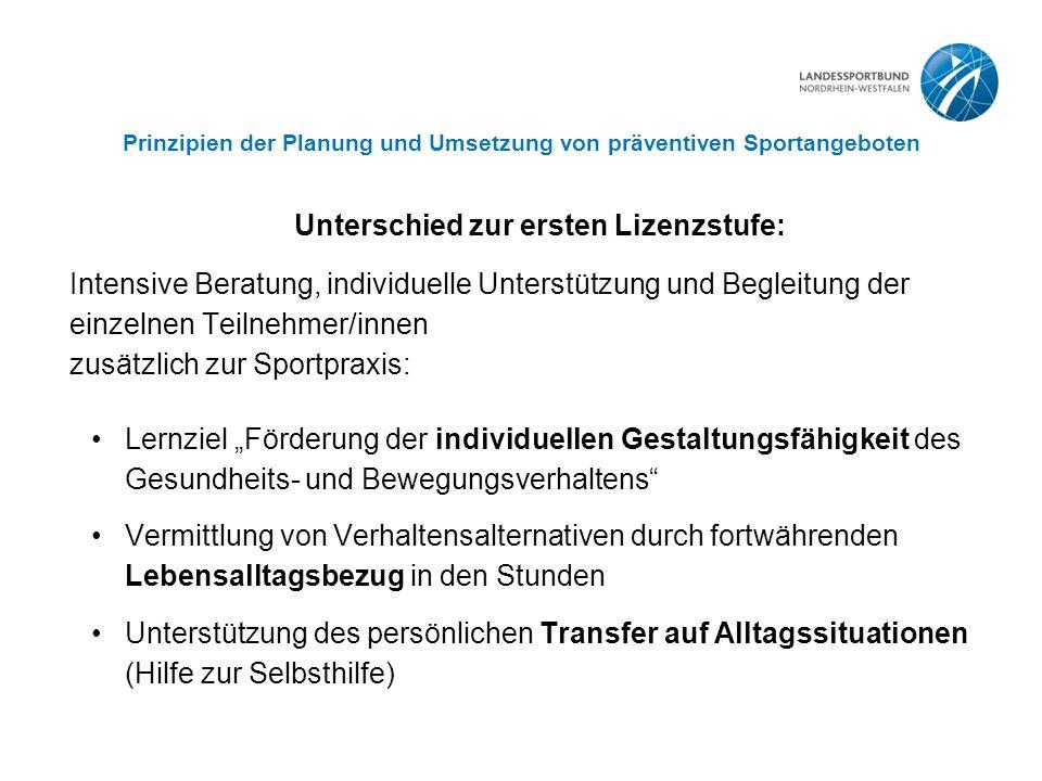 Prinzipien der Planung und Umsetzung von präventiven Sportangeboten