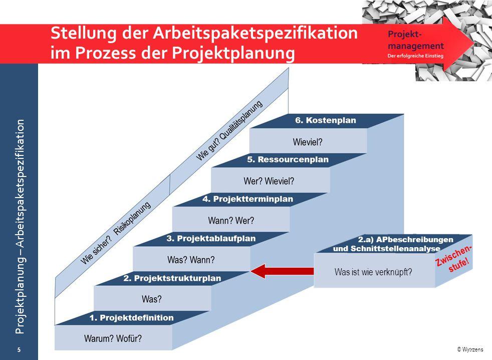 Stellung der Arbeitspaketspezifikation im Prozess der Projektplanung
