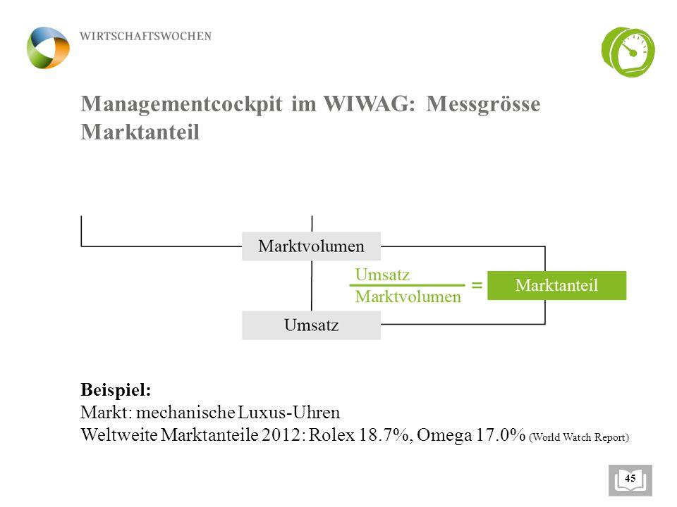 Managementcockpit im WIWAG: Messgrösse Marktanteil