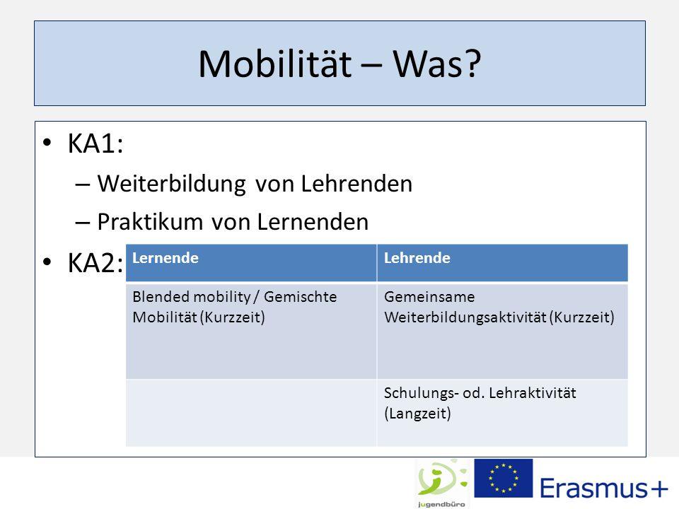 Mobilität – Was KA1: KA2: Weiterbildung von Lehrenden