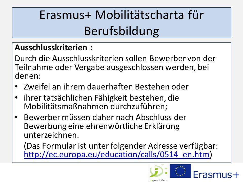 Erasmus+ Mobilitätscharta für Berufsbildung