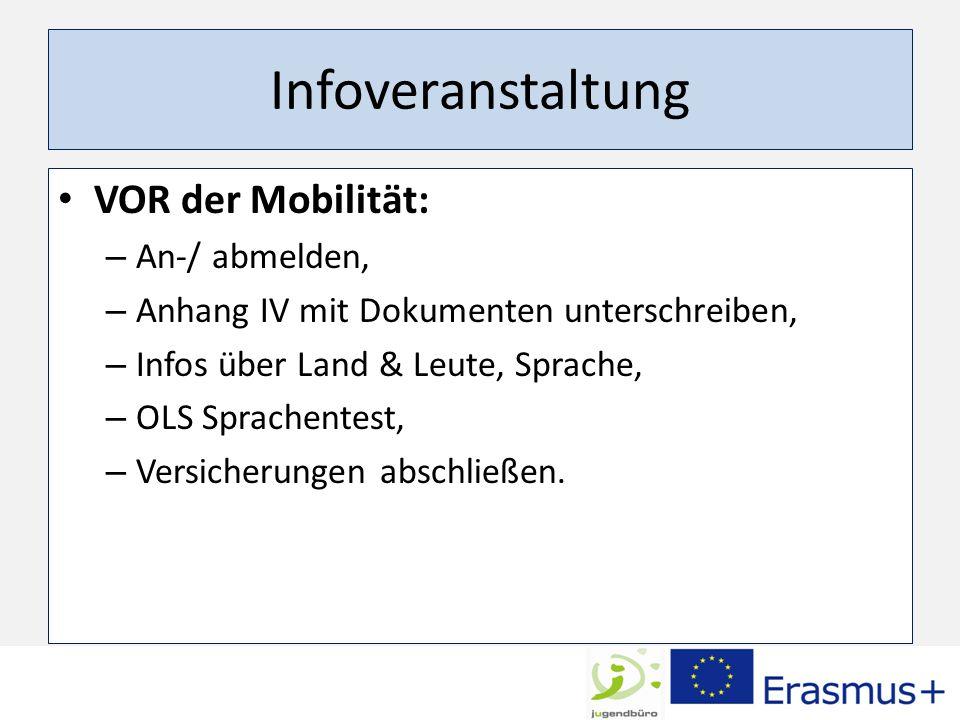 Infoveranstaltung VOR der Mobilität: An-/ abmelden,