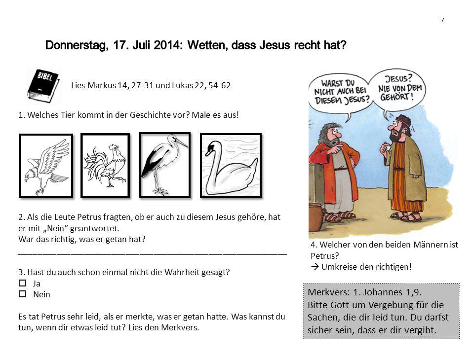 Donnerstag, 17. Juli 2014: Wetten, dass Jesus recht hat