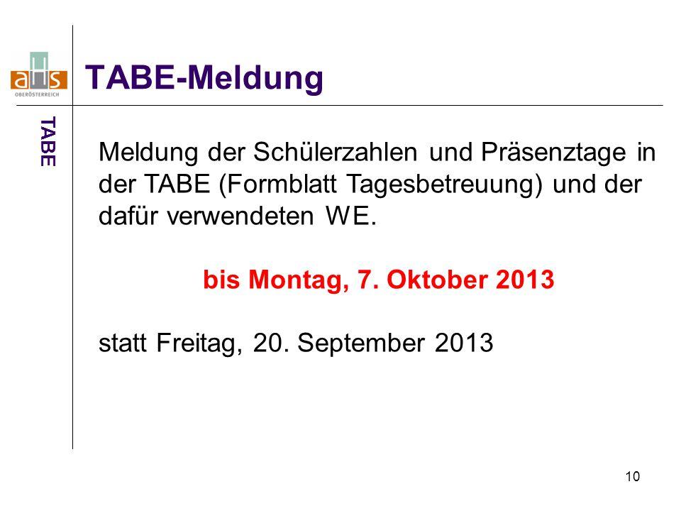 TABE-Meldung TABE. Meldung der Schülerzahlen und Präsenztage in der TABE (Formblatt Tagesbetreuung) und der dafür verwendeten WE.