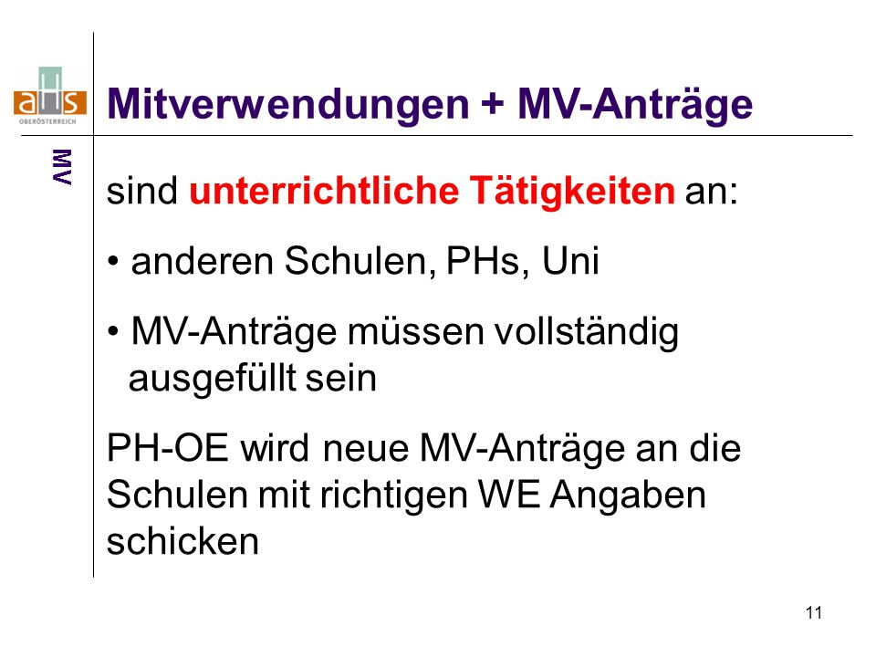 Mitverwendungen + MV-Anträge