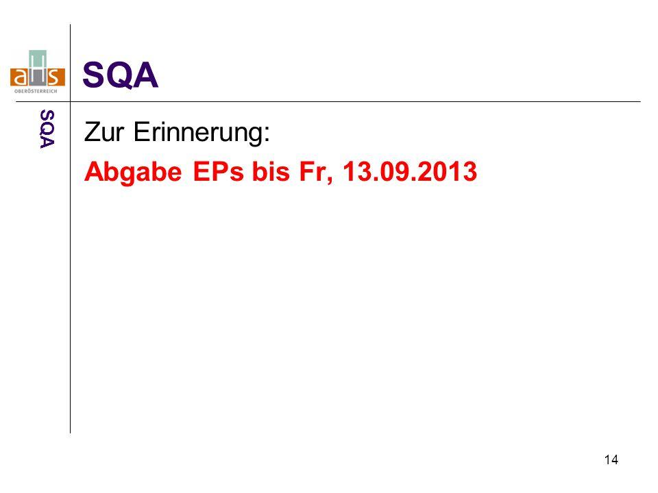 SQA SQA Zur Erinnerung: Abgabe EPs bis Fr, 13.09.2013 14