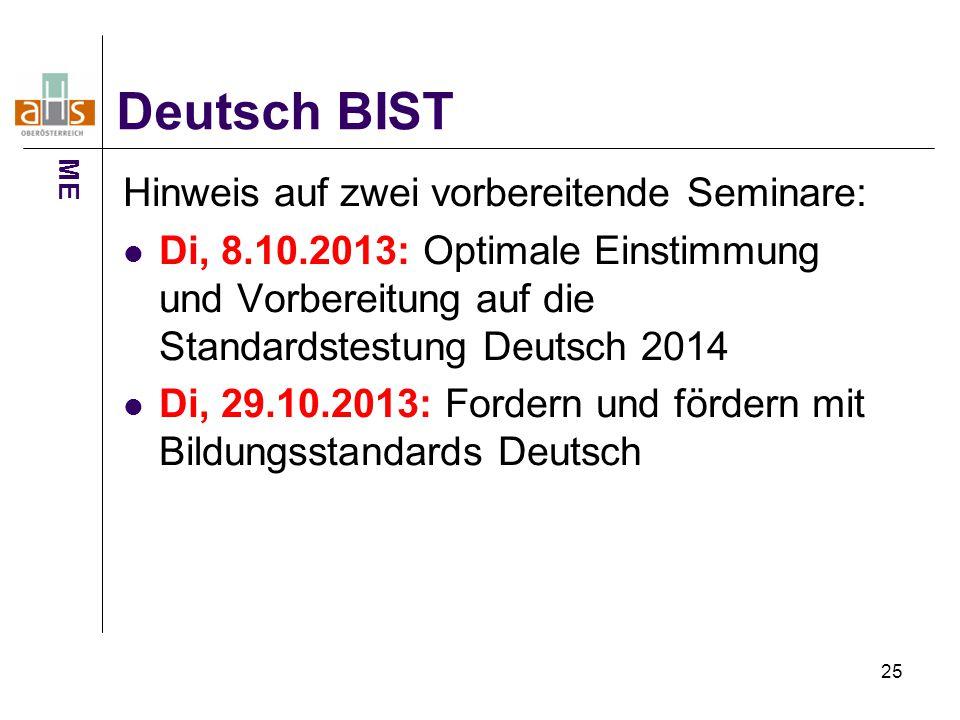 Deutsch BIST Hinweis auf zwei vorbereitende Seminare: