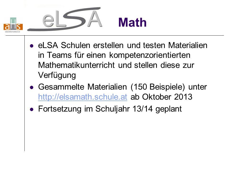 Math eLSA Schulen erstellen und testen Materialien in Teams für einen kompetenzorientierten Mathematikunterricht und stellen diese zur Verfügung.