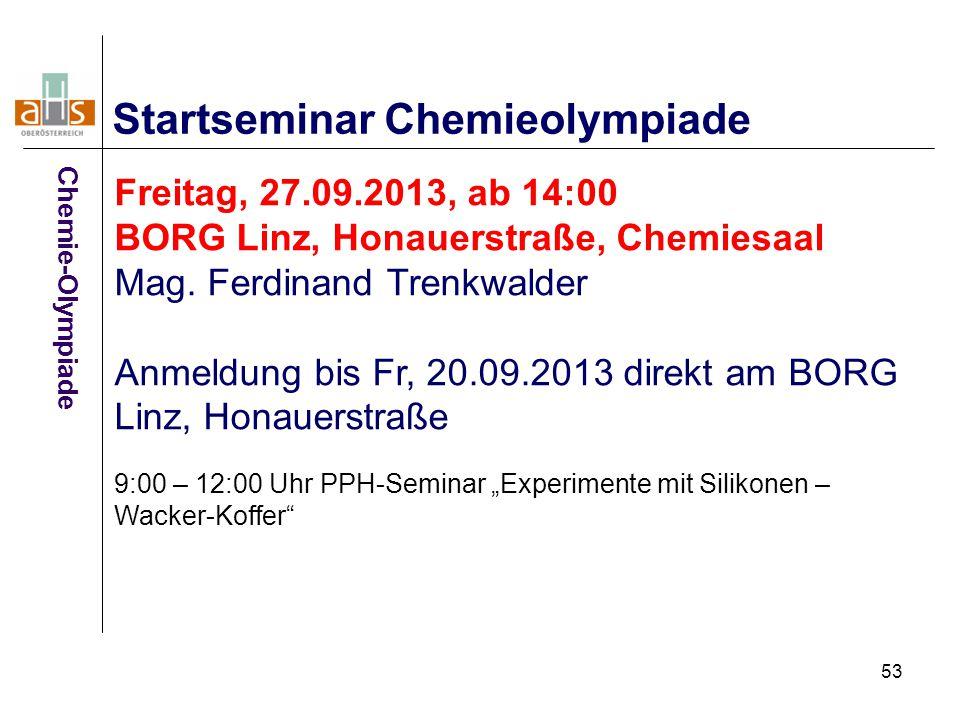 Startseminar Chemieolympiade