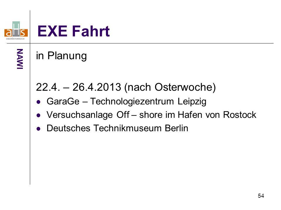 EXE Fahrt in Planung 22.4. – 26.4.2013 (nach Osterwoche)